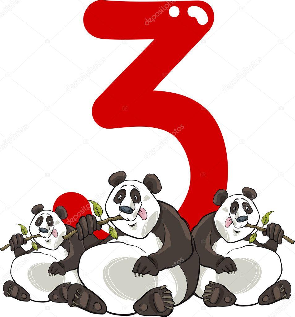 Panda numero tre e — vettoriali stock izakowski