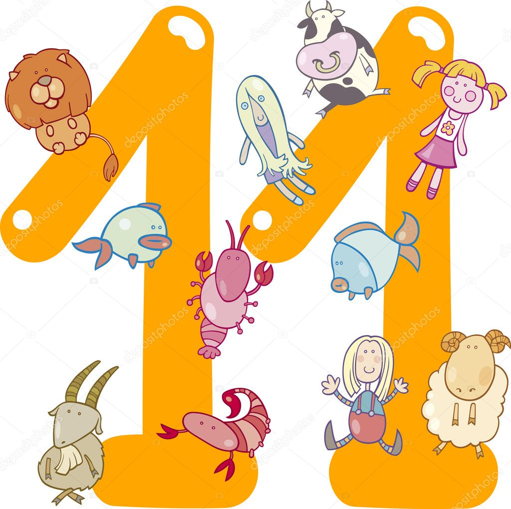 Cartoon illustration with number eleven and toys — Stock Vector #10145427