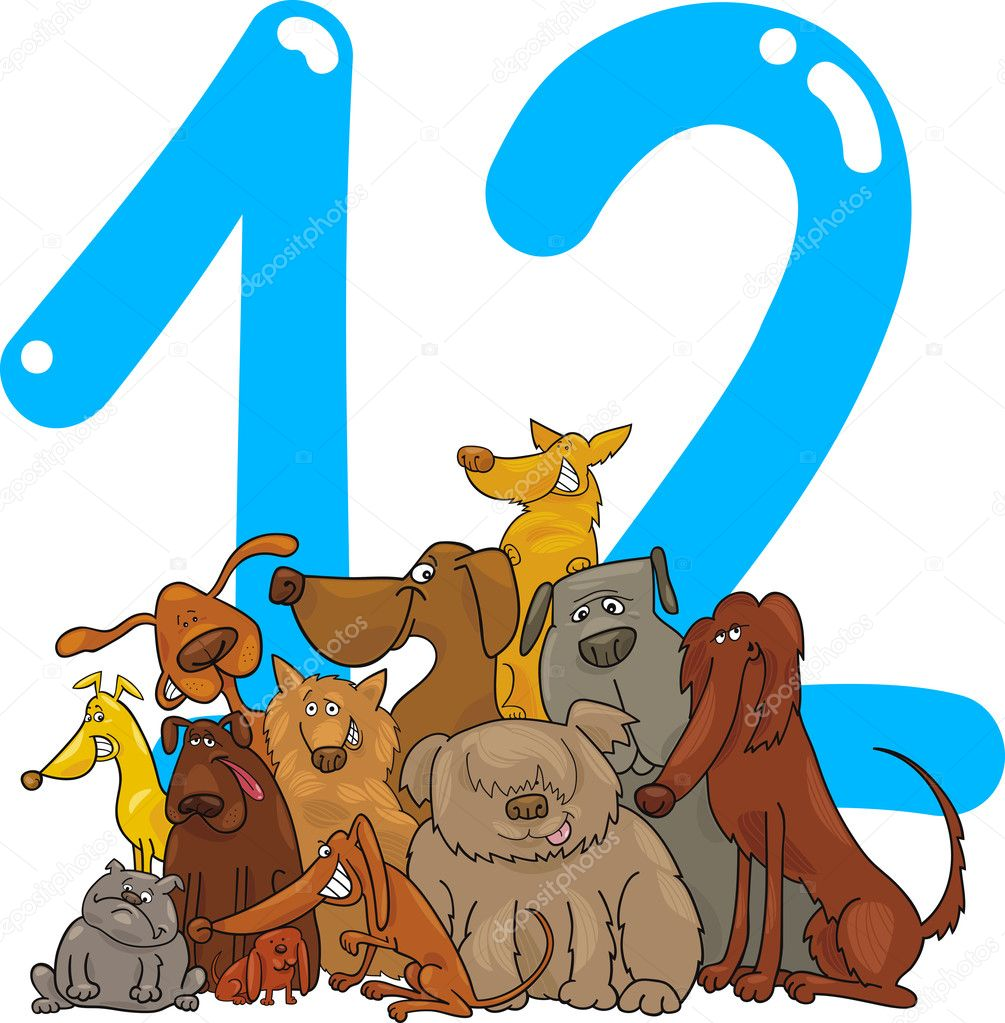 Cartoon illustration with number twelve and dogs — Stock Vector #10145438