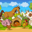 Vector de stock : Cartoon rural scene with farm animals