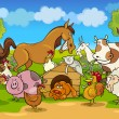 ストックベクタ: Cartoon rural scene with farm animals