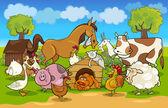 Escena rural de dibujos animados con animales de granja — Vector de stock