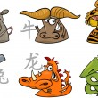 Six chinese zodiac signs — Stock Vector