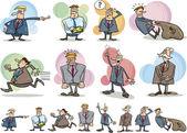 Funny businessmen set — Stock Vector