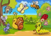 Cartone animato insetti sul prato — Vettoriale Stock