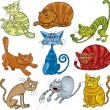 Cartoon cats set — Stok Vektör