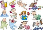 Cartoon babies and children set — Vector de stock