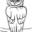 Cartoon owl for coloring book — Stock Vector
