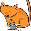 Cartoon doodle of cat and mouse — Imagen vectorial