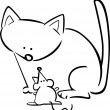 Cartoon doodle of cat and mouse for coloring - Grafika wektorowa