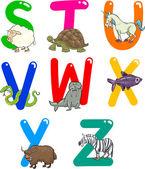 Cartoon Alphabet with Animals — Stock Vector