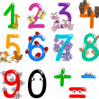 Numbers with cartoon animals — 图库矢量图片