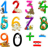 Numbers with cartoon animals — Stock Vector