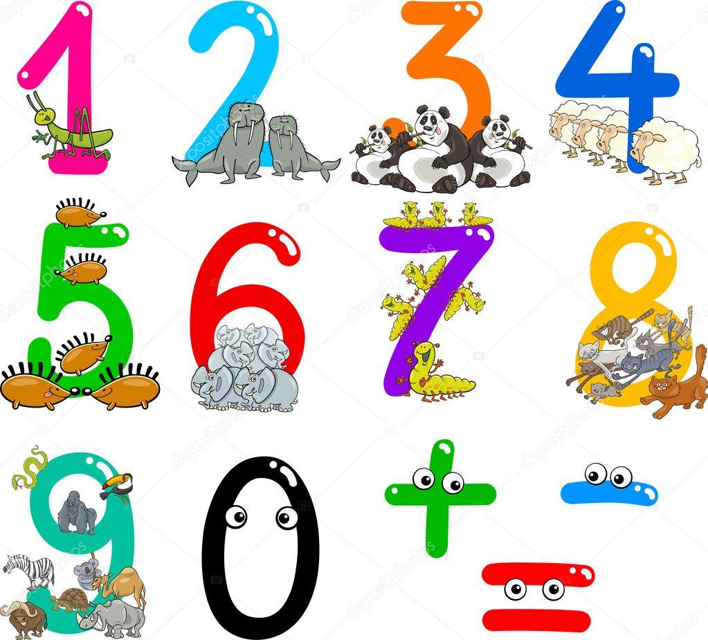 数字从零到九与动物的卡通插图