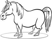 Cartoon pony horse coloring page — Stock Vector