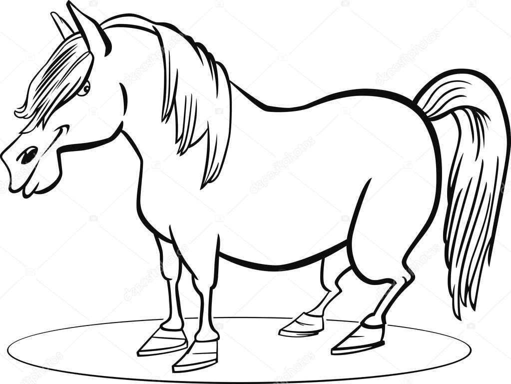 Cartoon pony horse coloring page stock illustration