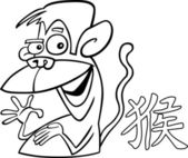 Signe horoscope chinois singe — Vecteur