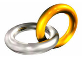 Gold and silver rings in chain — Stock Photo