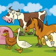 Group of cartoon farm animals — Vector de stock