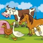 grupp av tecknade gård djur — Stockvektor