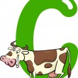C for cow — Stockvectorbeeld