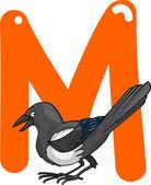 M voor ekster — Stockvector