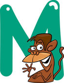 M for monkey — Stock Vector