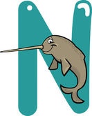 N for narwhal — Stock Vector