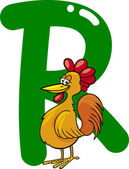 R for rooster — Stock Vector