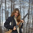 Woman hunter — Stock Photo