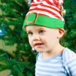 Baby boy on Christmas — Stock Photo
