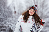 Young woman having fun in winter — Stock Photo