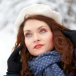 Beautiful young woman outdoor in winter — 图库照片