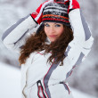 Beautiful young womoutdoor in winter — Stock Photo #9194643