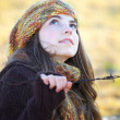 Beautiful young womoutdoor in autumn — Stock Photo #9197435