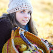 Young womwith fruit basket — Stock Photo #9197442