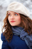 Elegant woman outdoor in winter — Stock Photo