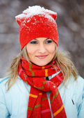 Portrait of woman outdoor in winter — Stock Photo