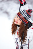 Woman playing in winter — Stock Photo