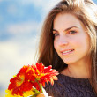 Young woman portrait in autumn — Stock Photo
