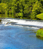 Artificial waterfall on Liffey river — Stock Photo