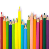 Color pencils composition on white background — Foto Stock