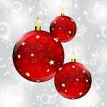 Christmas ball on abstract winter gray — Stock Vector