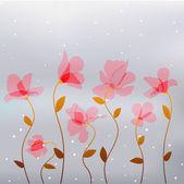 Αφηρημένη διαφάνεια ροζ λουλούδια — Διανυσματικό Αρχείο