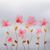Flores rosa abstrata transparência — Vetor de Stock
