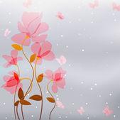 Rosa blüten mit schmetterling — Stockvektor