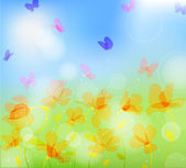 Colorful meadow with butterfly — Stock Vector