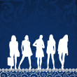 Stock Vector: Girls silhouettes on blue pattern