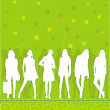 Stock Vector: Girls silhouettes on green pattern