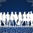 图库矢量图片: Young peoples silhouettes on blue pattern